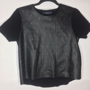 Zara Faux Leather Studded Top